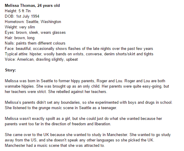 Here is a screenshot of part of the biography of Melissa Thomas, one of the characters in my book