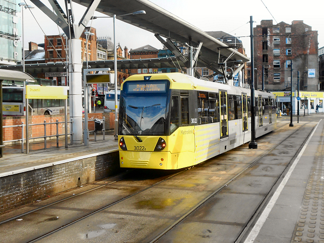 My tram stop at Shudehill. (Copyright David Dixon and licensed for reuse under this Creative Commons Licence)